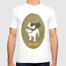 Super Dog White MEDIUM Mens Fitted Tee