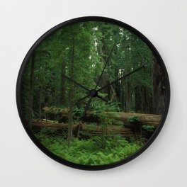 Fallen Tree in The Dense Forest Wall Clock