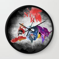 evangelion Wall Clocks featuring Evangelion by icantusechanwei