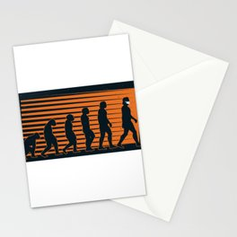 Evolution from ape to man with mask Stationery Cards