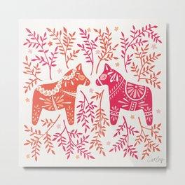 Swedish Dala Horses – Melon Palette Metal Print