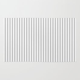 Mattress Ticking Narrow Striped Pattern in Charcoal Grey and White Rug
