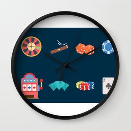 Roulette, Slots, Chips, Dice, Diamond & Cards - Nevada Day Wall Clock