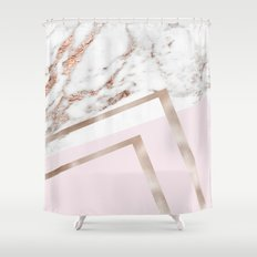 Geometric marble - luxe rose gold edition I Shower Curtain