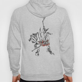 rowan branch with dried leaves and berries Hoody