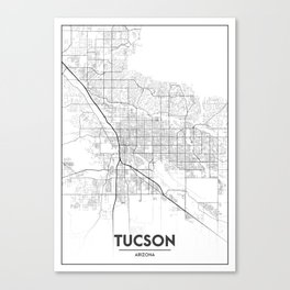 Minimal City Maps - Map Of Tucson, Arizona, United States Canvas Print