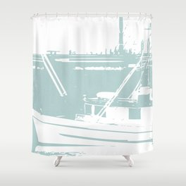 Sailboat in White and Pastel Blue Shower Curtain