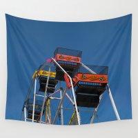 ferris wheel Wall Tapestries featuring Ferris Wheel by Steve Purnell