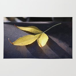 Yellow Leaf on Leather Surface Rug