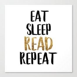 Eat Sleep Read Repeat Gold Canvas Print