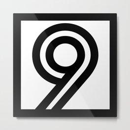 Number 9 - Digits - Geometric Lines - Black - 9 - nine - with black border Metal Print