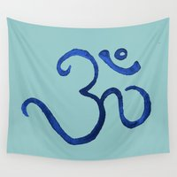 plain Wall Tapestries featuring Ohm / OM - Blue Plain by HollyJonesEcu