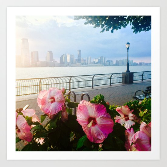Battery Park New York City Skyline with Pink Hibiscus Flowers Art Print