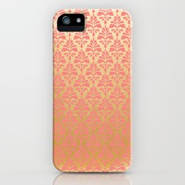 Modern chic coral faux gold floral elegant damask iPhone Case