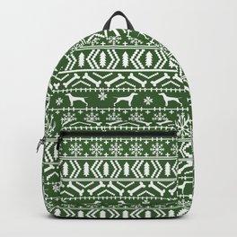 Vizsla fair isle green and white christmas holidays dog breed pet art dog pattern Backpack