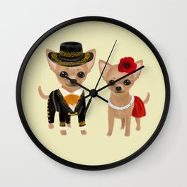 chihuahua couple mariachi Wall Clock