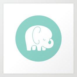Mod Baby Elephant Teal Art Print