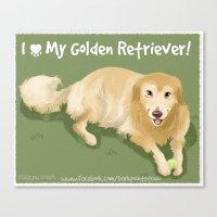golden retriever Canvas Prints featuring Golden Retriever by Bark Point Studio