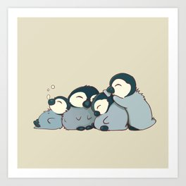 Pile of penguins Art Print