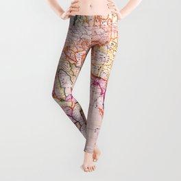 Vintage Map Pattern Leggings