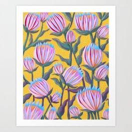 Bold Protea Flower Pattern - Pink Blue Green Purple Yellow Art Print