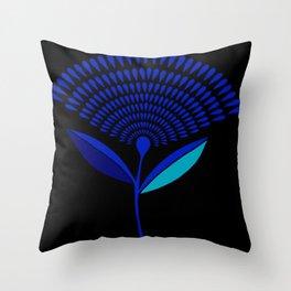 Mid Century Modern Dandelion Seed Head In Princess Blue Throw Pillow