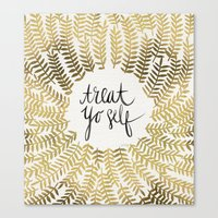 treat yo self Canvas Prints featuring Treat Yo Self – Gold by Cat Coquillette