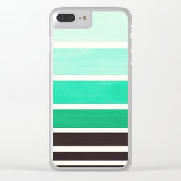 Light Teal Turquoise Green Minimalist Watercolor Mid Century Staggered Stripes Rothko Color Block Ge Clear iPhone Case