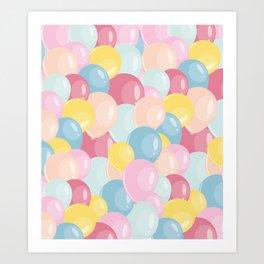 Happy birthday party balloons Art Print