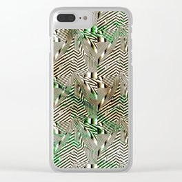 Optical Illusion: Black & White With Green Accents Clear iPhone Case