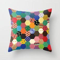 Hexagonal Patchwork Throw Pillow