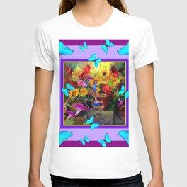 Blue Butterflies Purple Floral Still Life Painting T-shirt