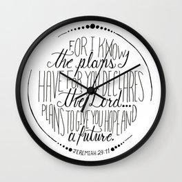 Hand Written Typography of Jeremiah 29:11 Wall Clock