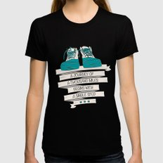 a journey of a thousand miles begins with a single step Womens Fitted Tee SMALL Black