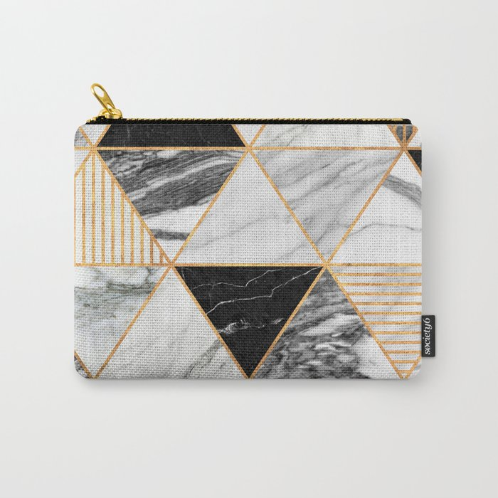 Marble Triangles 2 - Black and White Carry-All Pouch