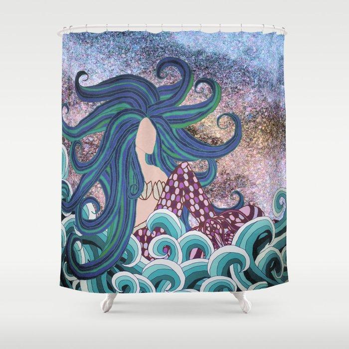 Midnight Blue Mermaid Shower Curtain
