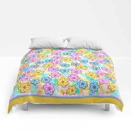 Pink, Blue and Gold Flowers Comforters