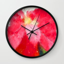 Mottled Red Poinsettia 2 Serene Wall Clock