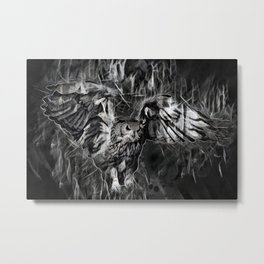 Flying Owl On Gray Black Background Metal Print