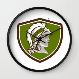 Minerva Head Crest Retro Wall Clock