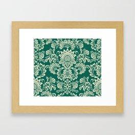 Damask vintage in green Framed Art Print