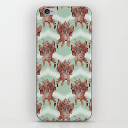 cat unicorn chevron mint iPhone Skin