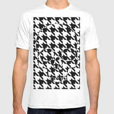 HOUNDSTOOTH SKULL #2 MEDIUM White Mens Fitted Tee