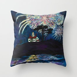 Crescent City Fourth of July ~ Battery Point Lighthouse Throw Pillow