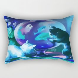 Kittens with Goldfishes Rectangular Pillow