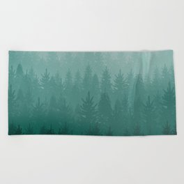 Misty Pacific Northwest Forest Beach Towel