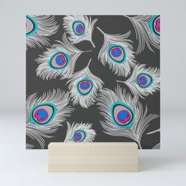 Silver Gray / Grey Peacock Feathers on Dark Gray Mini Art Print