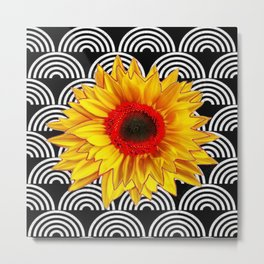 Red Sunflower Floral  Art Deco Pattern Art Metal Print