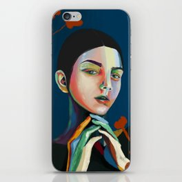 Girl and flowers iPhone Skin