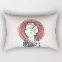 Japanese flag and Geisha Rectangular Pillow